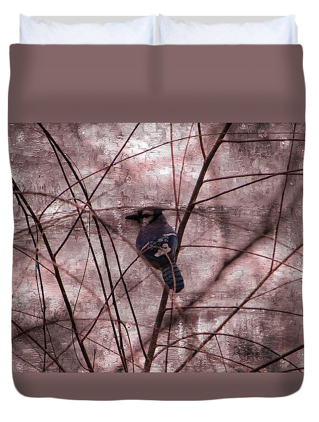 Duvet Cover featuring the photograph Blue Jay In The Willow by Ericamaxine Price
