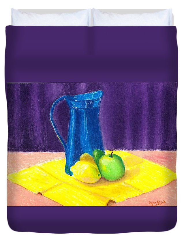 Jug Duvet Cover featuring the pastel Blue Jug by Brenda Bonfield