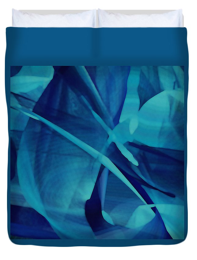 Mandala Duvet Cover featuring the digital art Blue Linear Mesh No 1 by Joy McKenzie