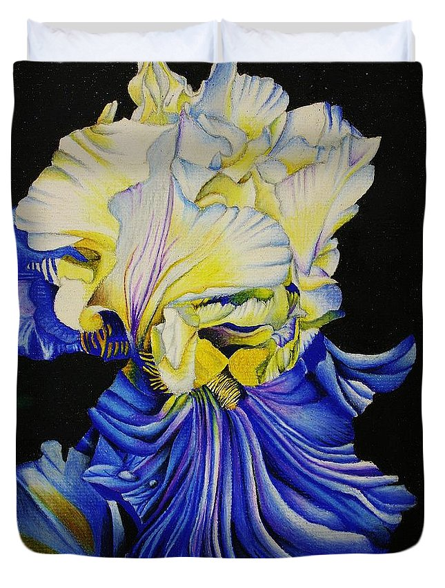 Flora Duvet Cover featuring the drawing Blue Magic by Bruce Bley