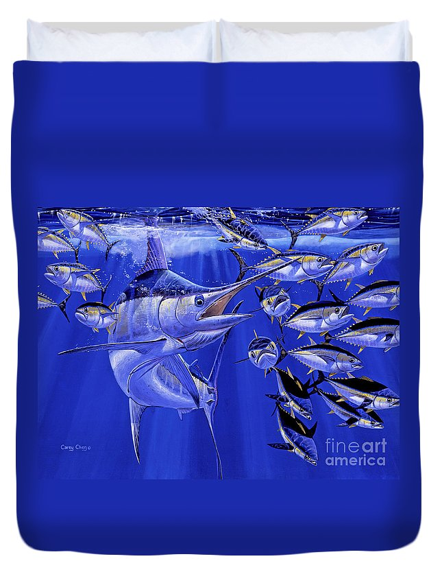 Blue Marlin Duvet Cover featuring the painting Blue Marlin Round Up Off0031 by Carey Chen