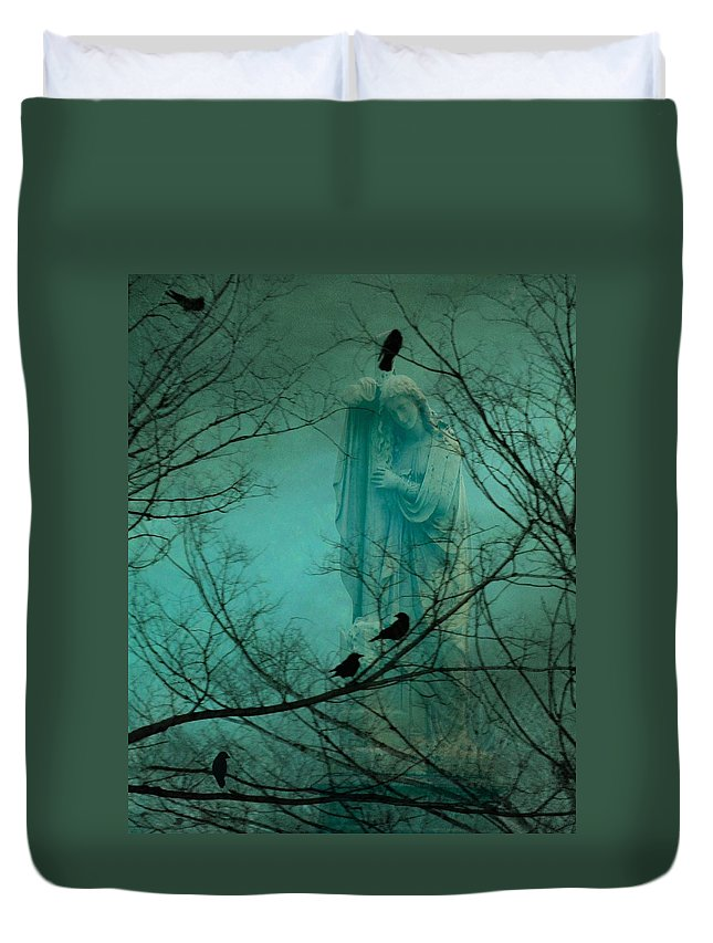 Aqua Duvet Cover featuring the photograph Angel And Crows In A Blue Mist by Gothicrow Images