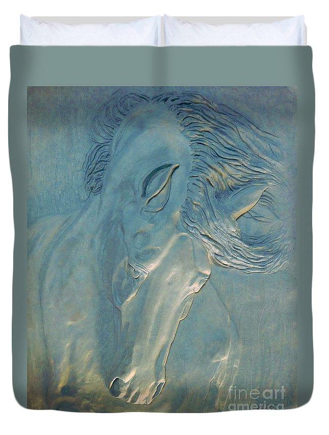 Horse Duvet Cover featuring the digital art Blue Monday by Suzette Kallen
