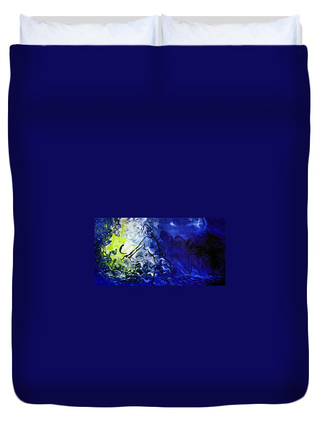 Genio Duvet Cover featuring the mixed media Blue Mood by Genio GgXpress