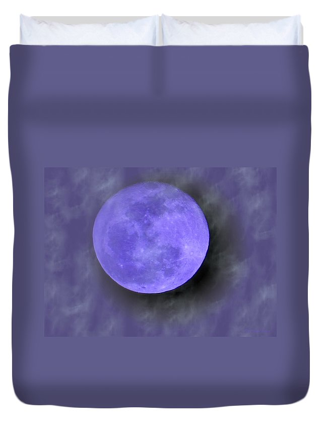 Moon Duvet Cover featuring the photograph Blue Moon 02 26 13 by Joyce Dickens