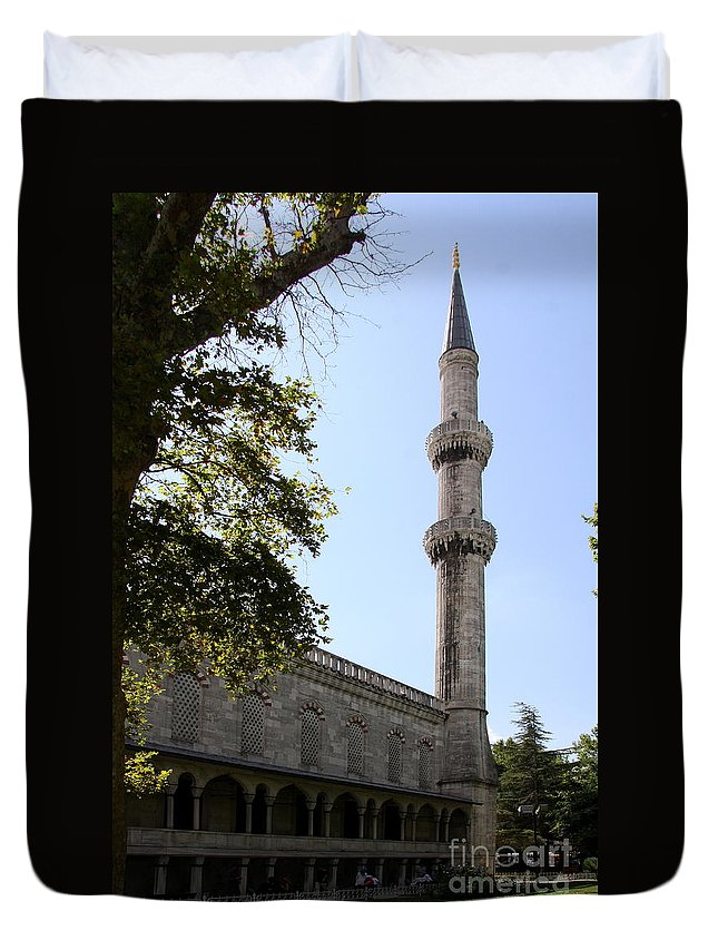Minaret Duvet Cover featuring the photograph Blue Mosque Minaret by Christiane Schulze Art And Photography