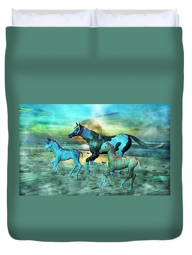 Horse Duvet Cover featuring the mixed media Blue Ocean Horses by Betsy Knapp