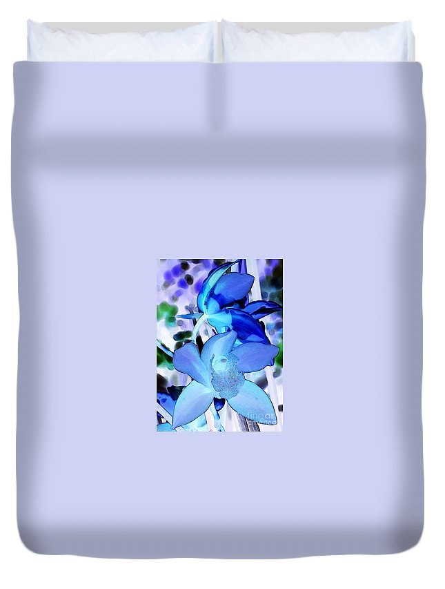 Orchid Duvet Cover featuring the photograph Blue Orchids by Kathleen Struckle