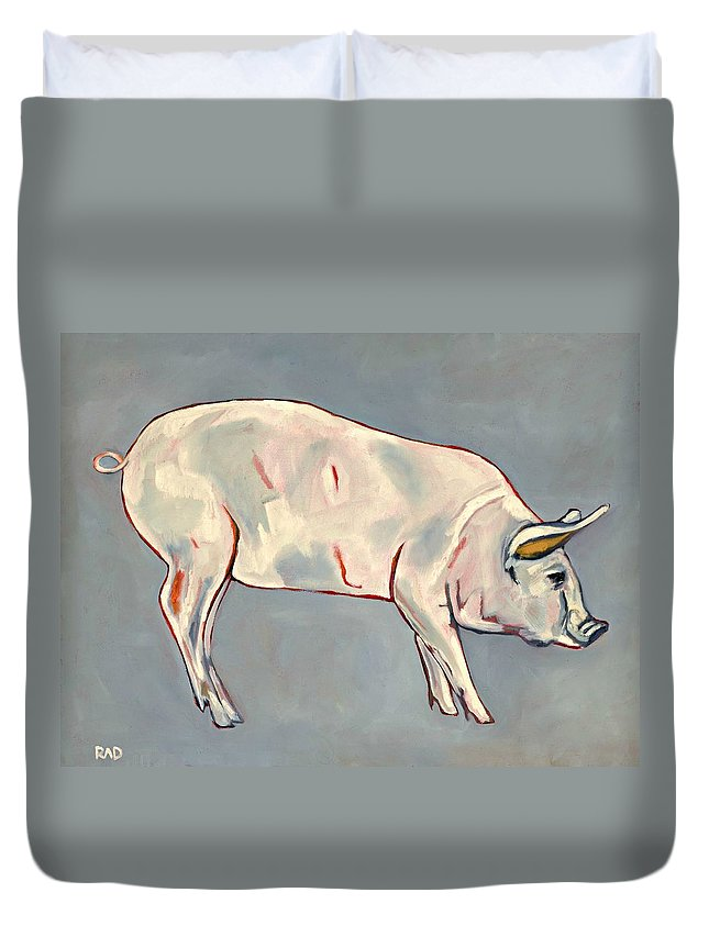 Pig Duvet Cover featuring the painting Blue Pig by Randine Dodson