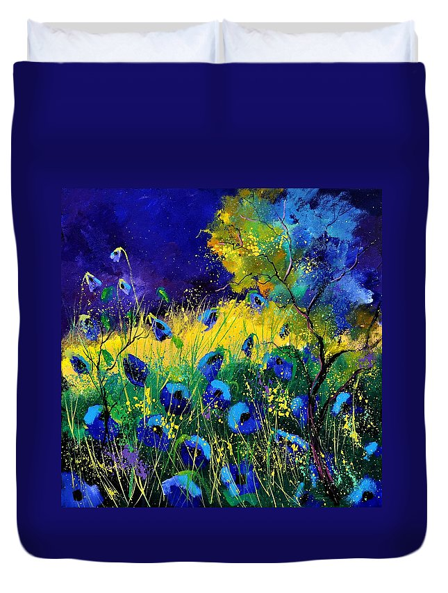 Landscape Duvet Cover featuring the painting Blue poppies 7741 by Pol Ledent