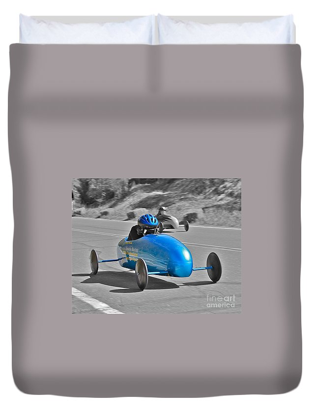 Race Duvet Cover featuring the photograph Blue Racer by Rick Monyahan