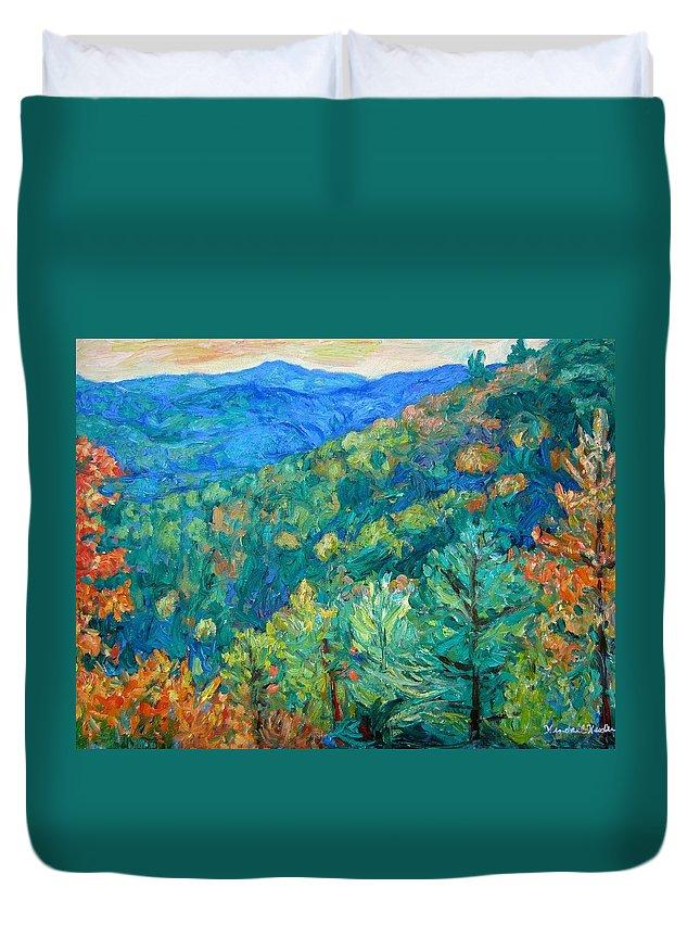 Blue Ridge Mountains Duvet Cover featuring the painting Blue Ridge Autumn by Kendall Kessler
