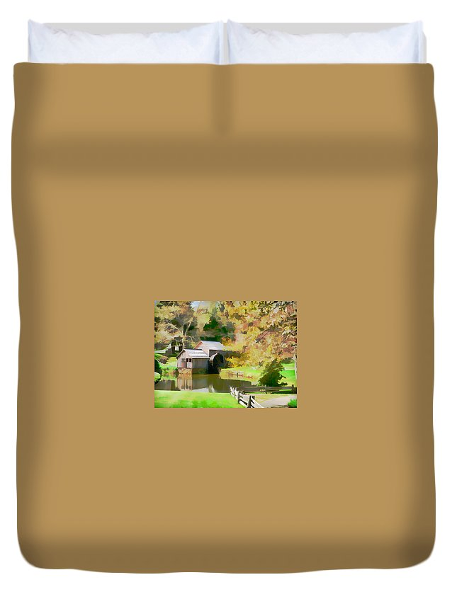 Blue Ridge Parkway Grist Mill Fall Scenic Duvet Cover featuring the photograph Blue Ridge Grist Mill by Alice Gipson