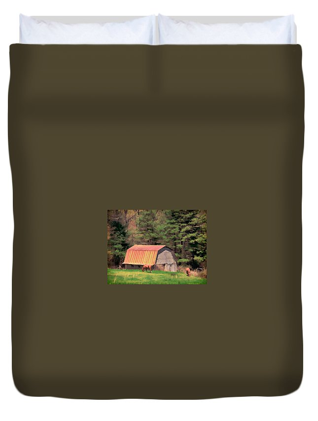 Blue Ridge Parkway View Horses Barn Roof Woods Duvet Cover featuring the photograph Blue Ridge Horses by Alice Gipson