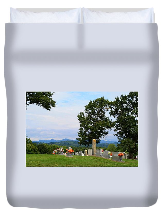 Blue Ridge Duvet Cover featuring the photograph Blue Ridge Mountain Cemetery by Kathryn Meyer