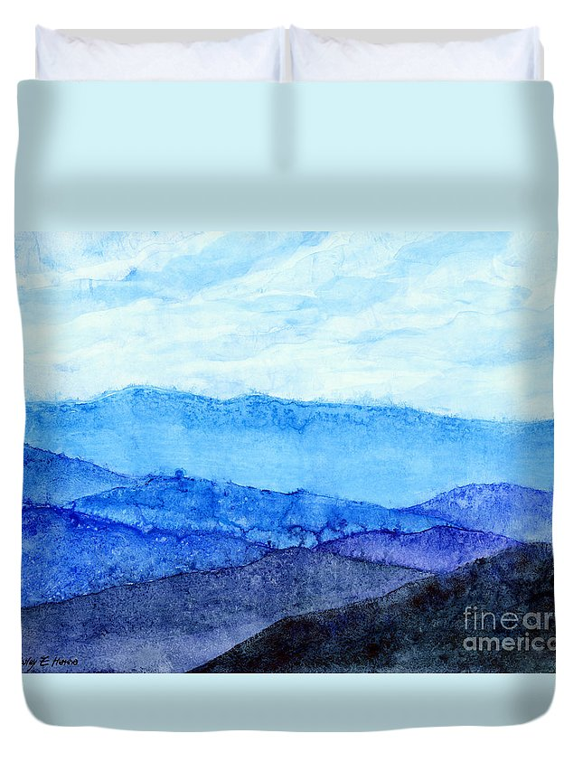 Mountain Duvet Cover featuring the painting Blue Ridge Mountains by Hailey E Herrera