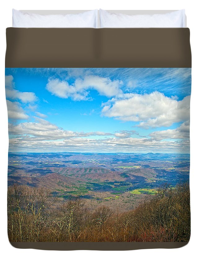 Blue Duvet Cover featuring the photograph Blue Ridge Parkway Beautiful View by Betsy Knapp