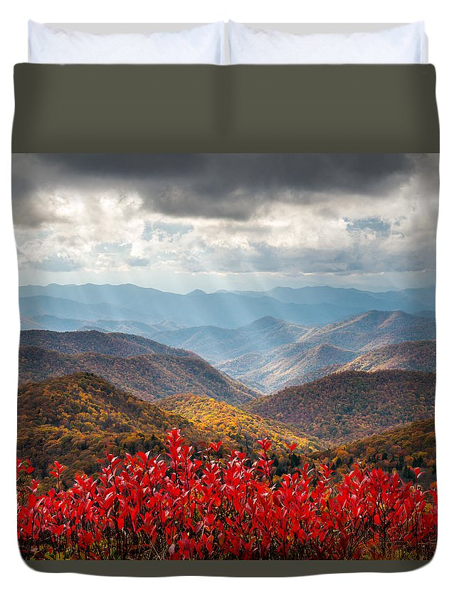 Autumn Duvet Cover featuring the photograph Blue Ridge Parkway Fall Foliage - The Light by Dave Allen