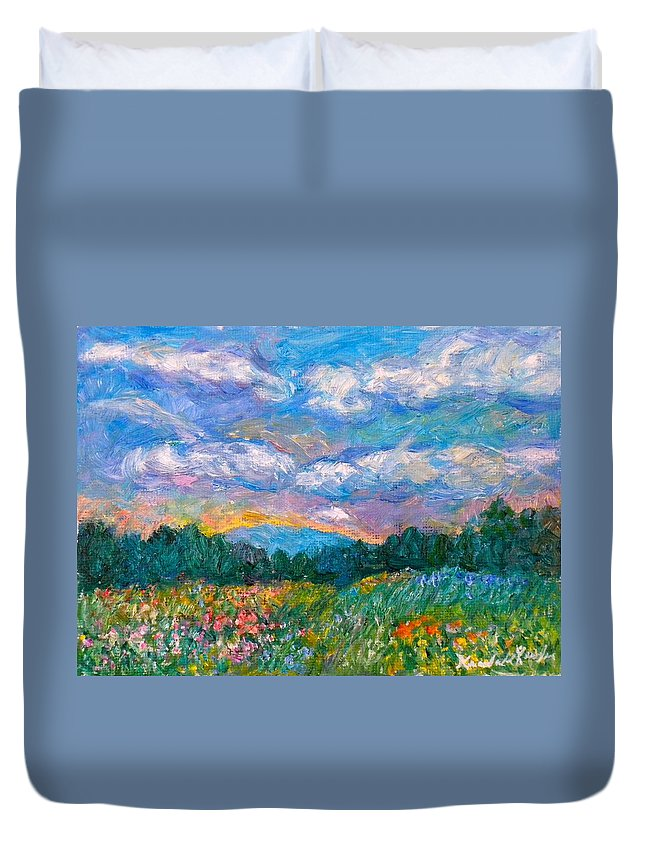 Landscape Duvet Cover featuring the painting Blue Ridge Wildflowers by Kendall Kessler