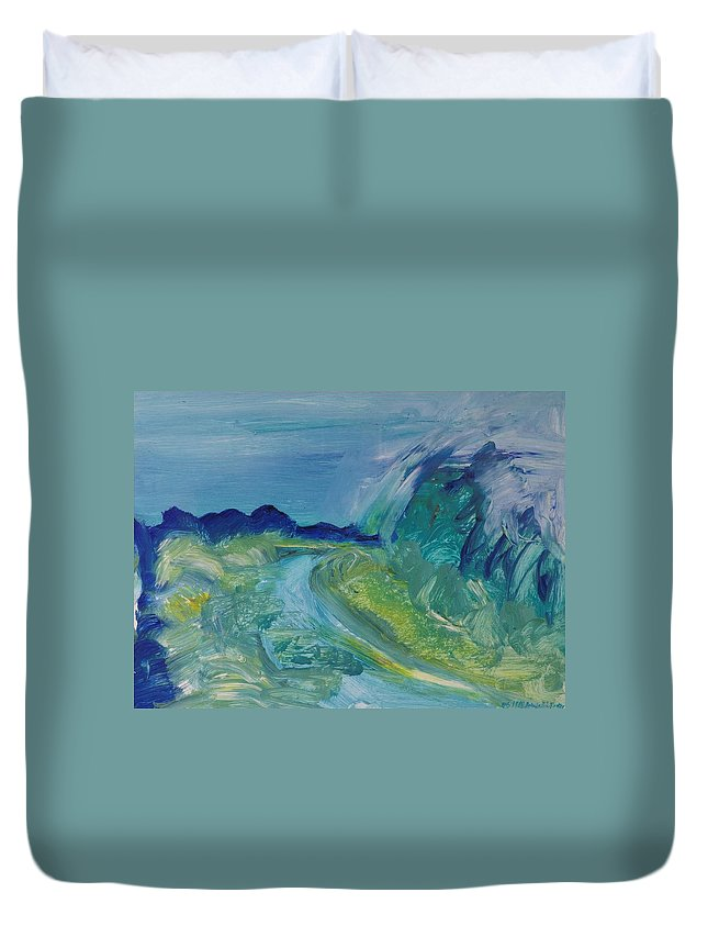 Abstract Duvet Cover featuring the photograph Blue River Landscape I, 1988 Oil On Canvas by Brenda Brin Booker