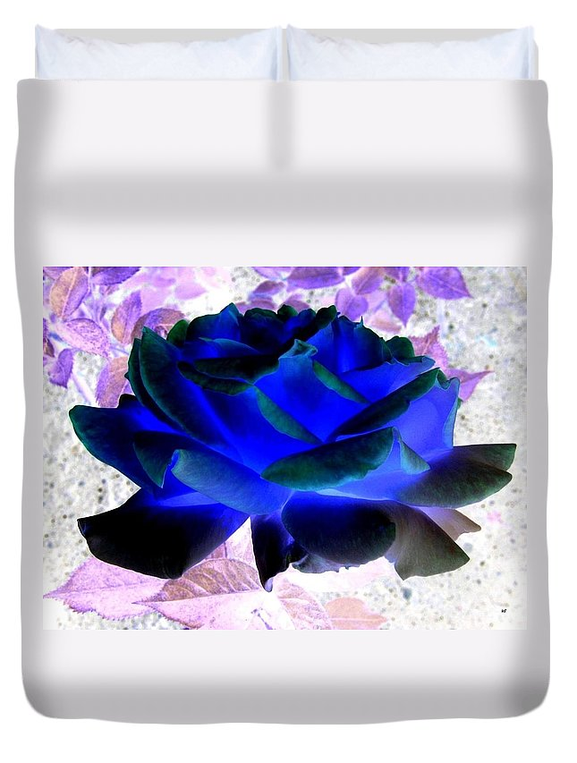 Blue Rose Duvet Cover featuring the digital art Blue Rose by Will Borden