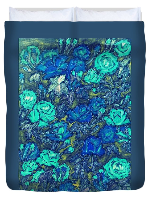 Painting Duvet Cover featuring the painting Blue Roses by Dimitra Papageorgiou