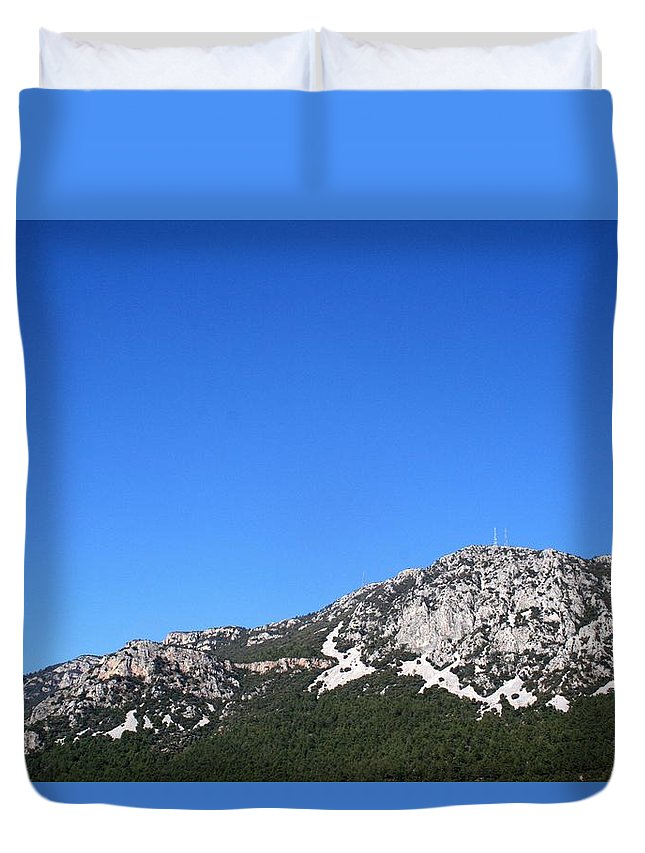 Mount Sakar Duvet Cover featuring the photograph Blue Skies Of Mount Sakar by Tracey Harrington-Simpson