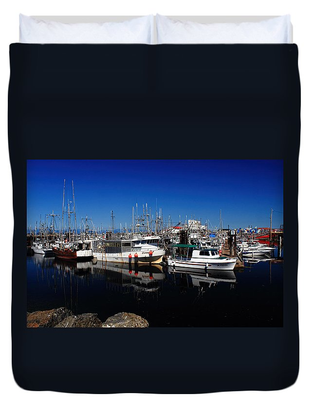 Marina Duvet Cover featuring the photograph Blue Skies Over French Creek by Randy Hall
