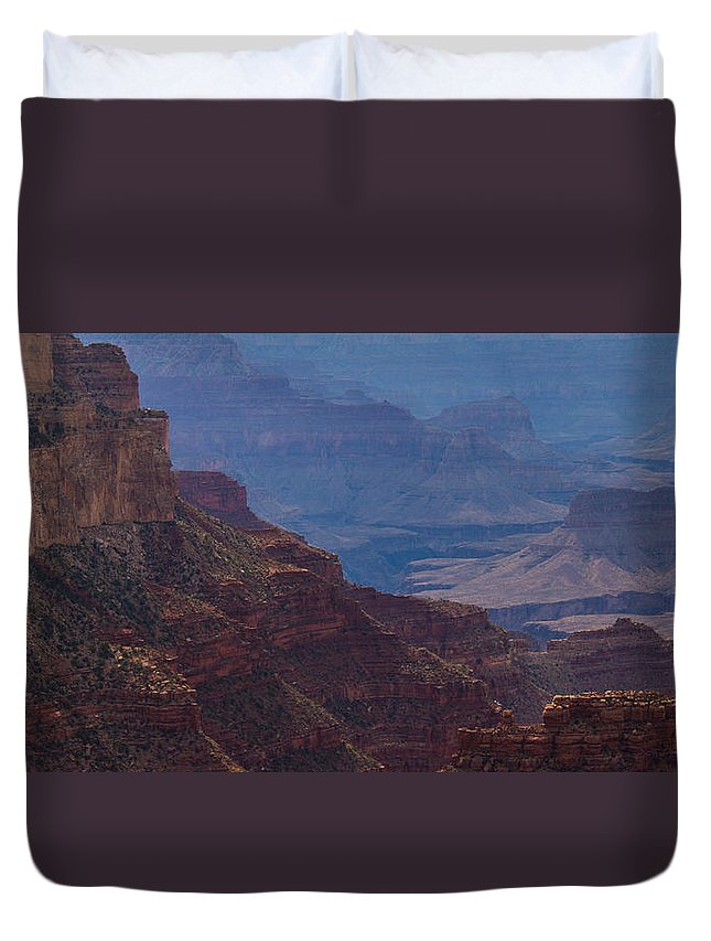 Grand Canyon Duvet Cover featuring the photograph Blue Sky And Red Mountains by Kathleen Odenthal