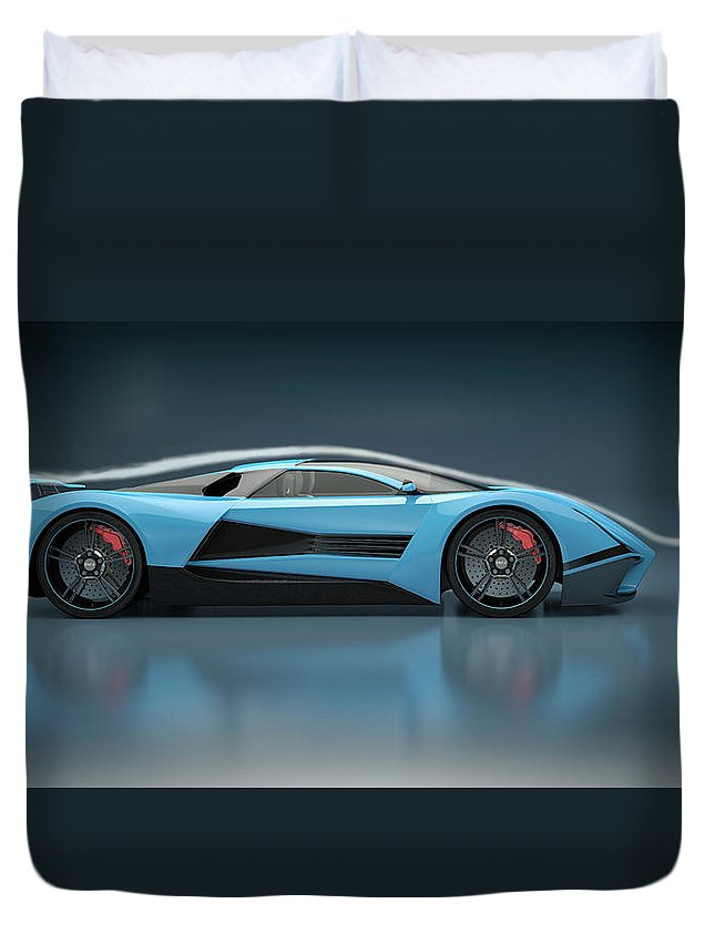 Aerodynamic Duvet Cover featuring the photograph Blue Sports Car In A Wind Tunnel by Mevans