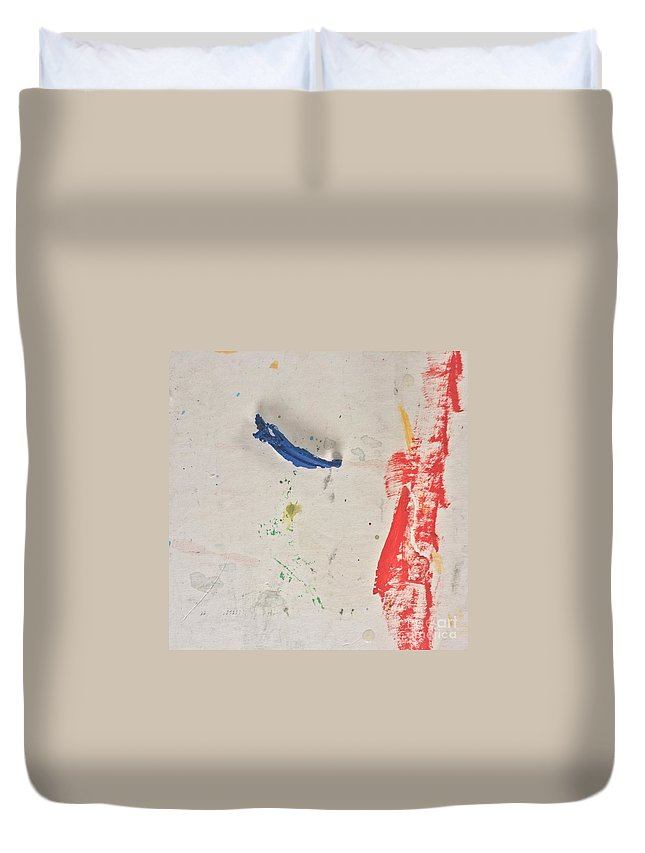 Blue Duvet Cover featuring the painting Blue Swing by Robin Maria Pedrero