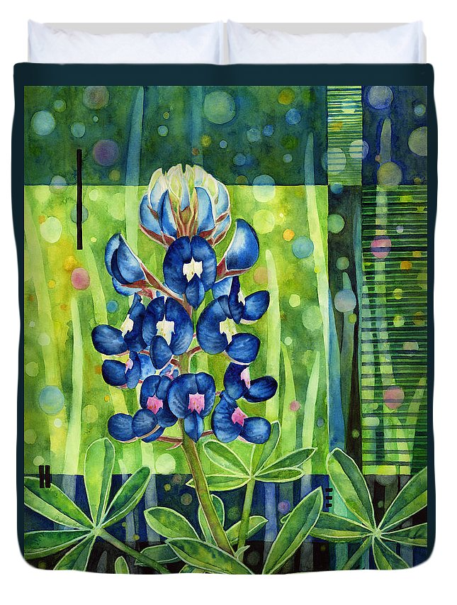 Blue Duvet Cover featuring the painting Blue Tapestry by Hailey E Herrera