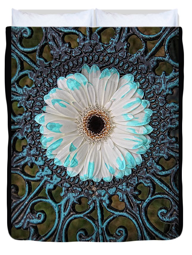 Flower Duvet Cover featuring the digital art Blue Tipped Flower by Lori Frostad