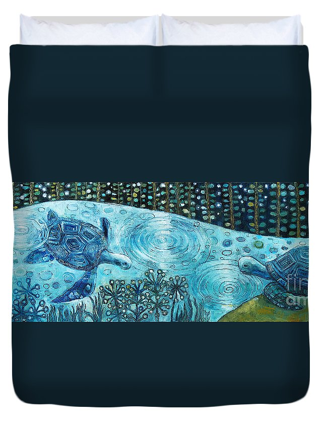 Blue Duvet Cover featuring the painting Blue Turtles by Manami Lingerfelt