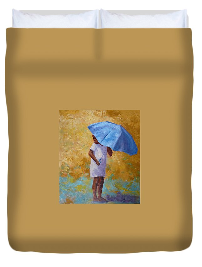 Child Duvet Cover featuring the painting Blue Umbrella by Yvonne Ankerman