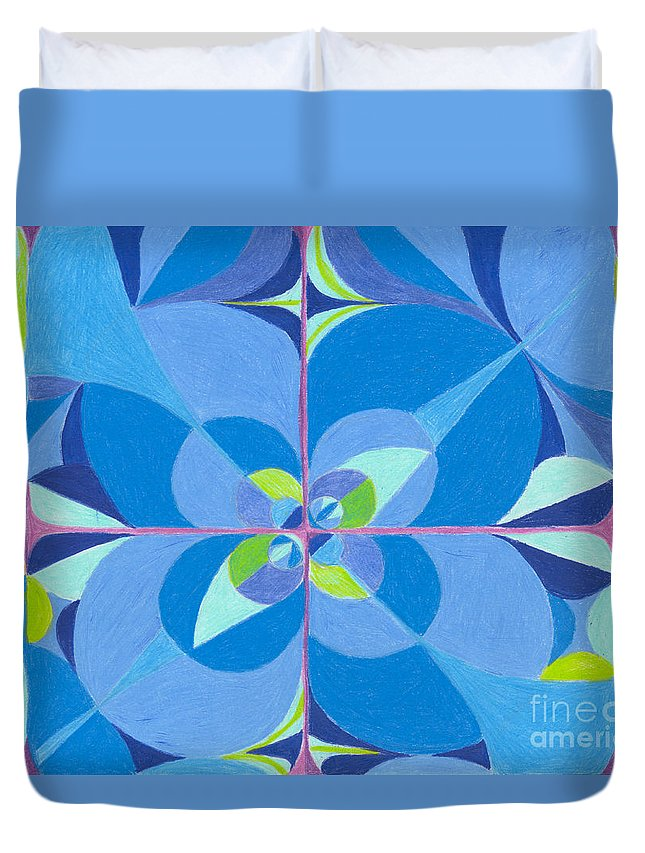 Color Duvet Cover featuring the drawing Blue Unity by Kim Sy Ok