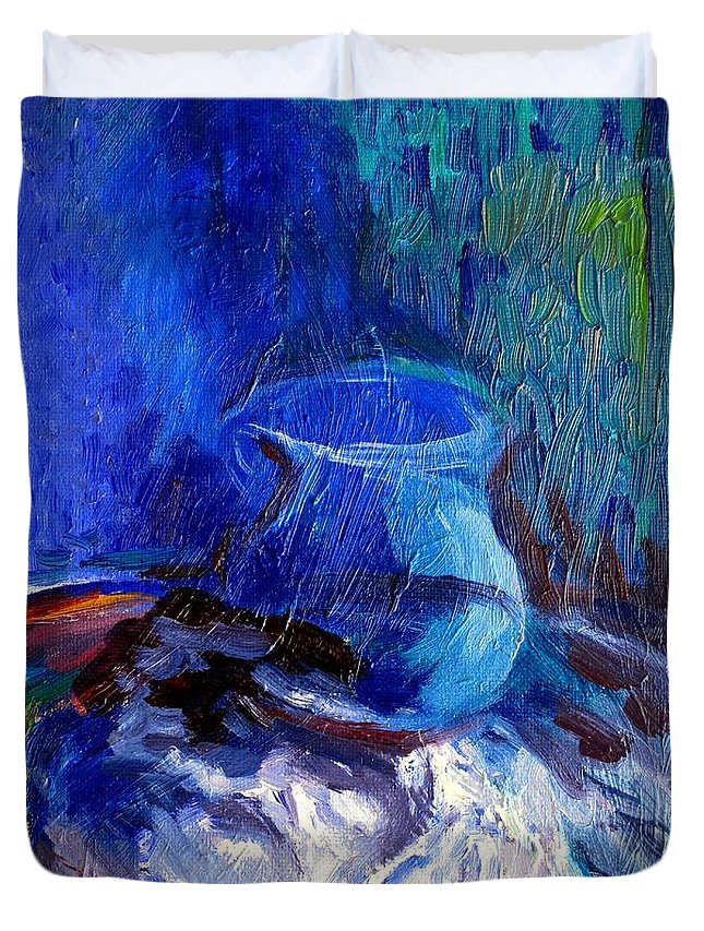 Blue Vase Duvet Cover featuring the painting Blue Vase by Frederick Luff