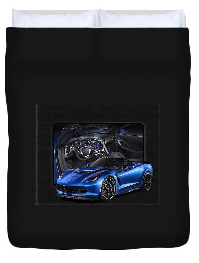 Corvette Duvet Cover featuring the photograph Blue Vette by Jim Markiewicz
