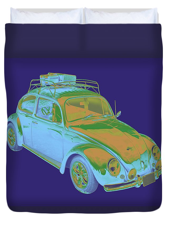 Volkswagen Beetle Duvet Cover featuring the photograph Blue Volkswagen Beetle Punch Buggy Modern Art by Keith Webber Jr
