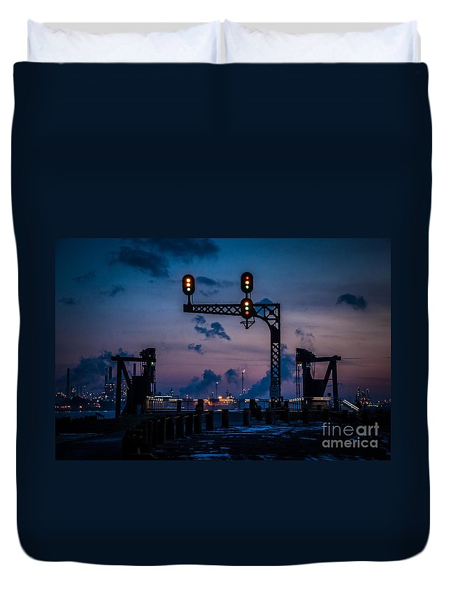 River Walk Duvet Cover featuring the photograph Blue Water River Walk At Dusk by Ronald Grogan