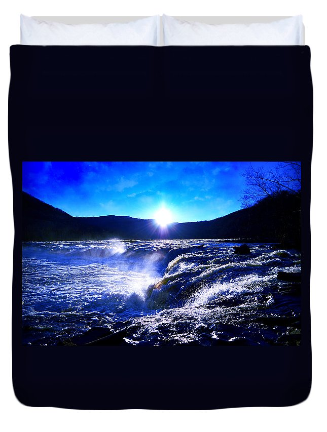 Waterfall Duvet Cover featuring the photograph Blue Waterfall by Lj Lambert