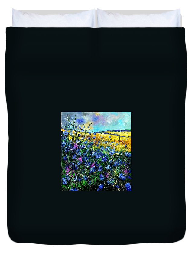 Flowers Duvet Cover featuring the painting Blue Wild Chicorees by Pol Ledent