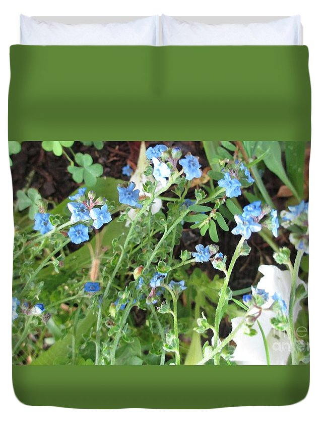 Landscape Duvet Cover featuring the photograph Blue Wildflowers by Barbara Yearty