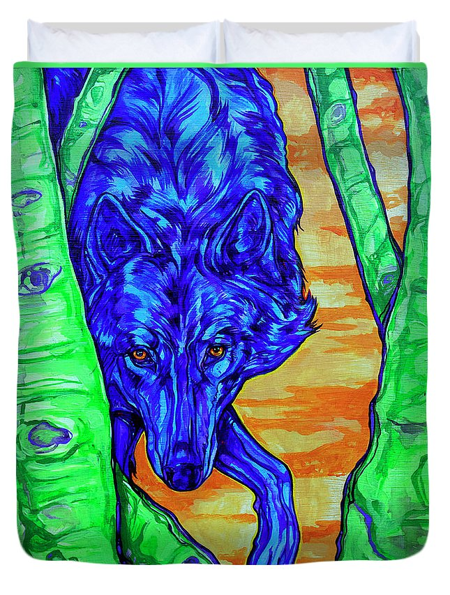 Wolf Duvet Cover featuring the painting Blue Wolf by Derrick Higgins