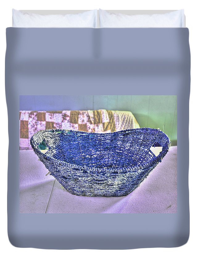 Woven Basket Duvet Cover featuring the digital art Blue Woven Basket by Aliceann Carlton