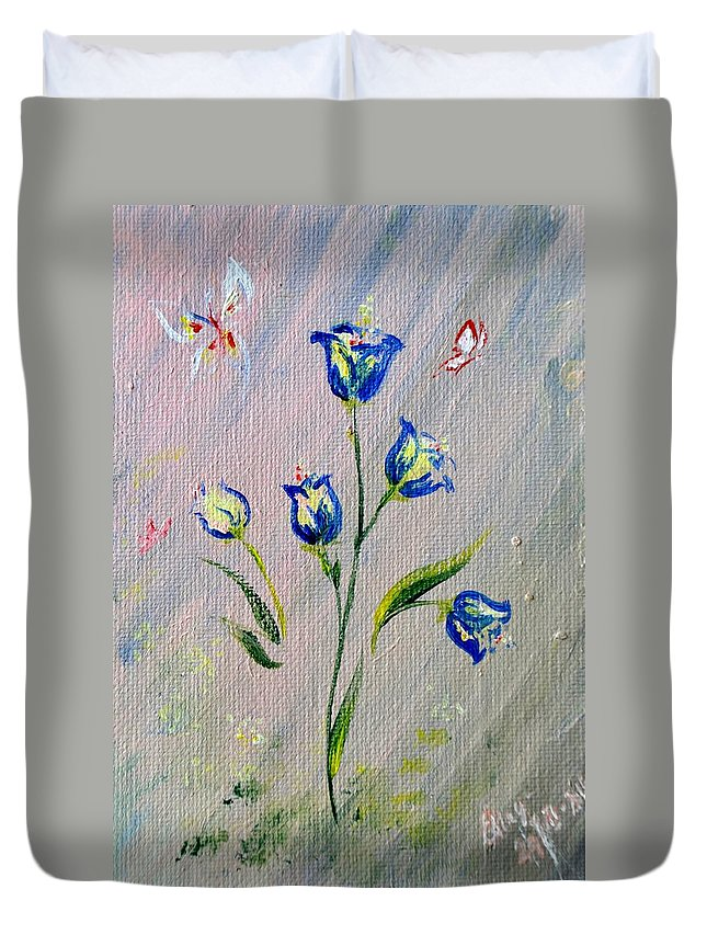 Duvet Cover featuring the painting Bluebells by Katerina Naumenko