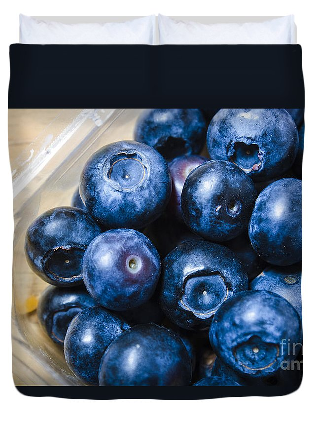 Food Duvet Cover featuring the photograph Blueberries Punnet by Jorgo Photography - Wall Art Gallery