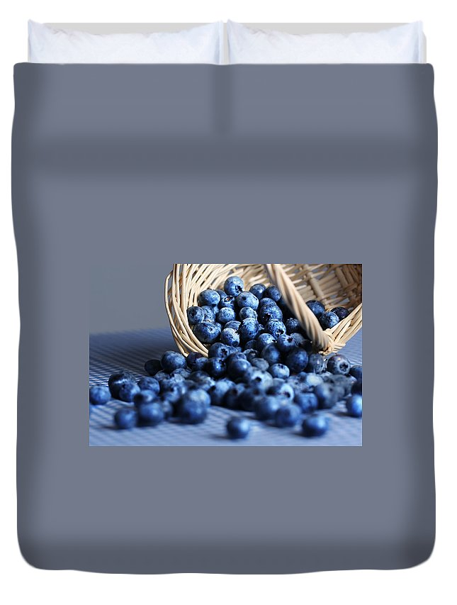 Eat Duvet Cover featuring the photograph Blueberries Spilling From Wicker Basket Kitchen Art by Carol Mellema