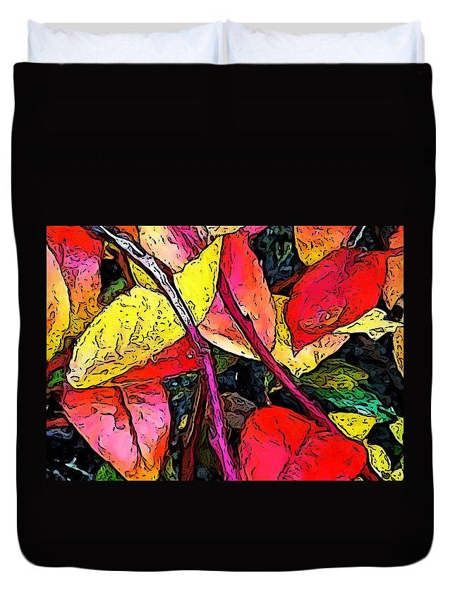 Blueberry Bush Duvet Cover featuring the digital art Blueberry Autumn Leaves by Gary Olsen-Hasek