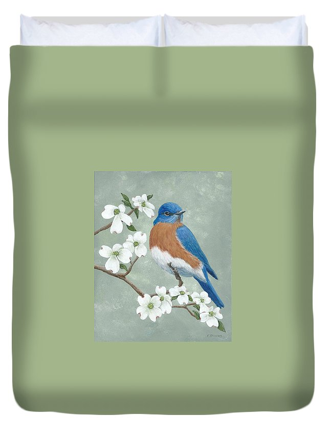 Bluebird Duvet Cover featuring the painting Bluebird And Dogwood by Fran Brooks